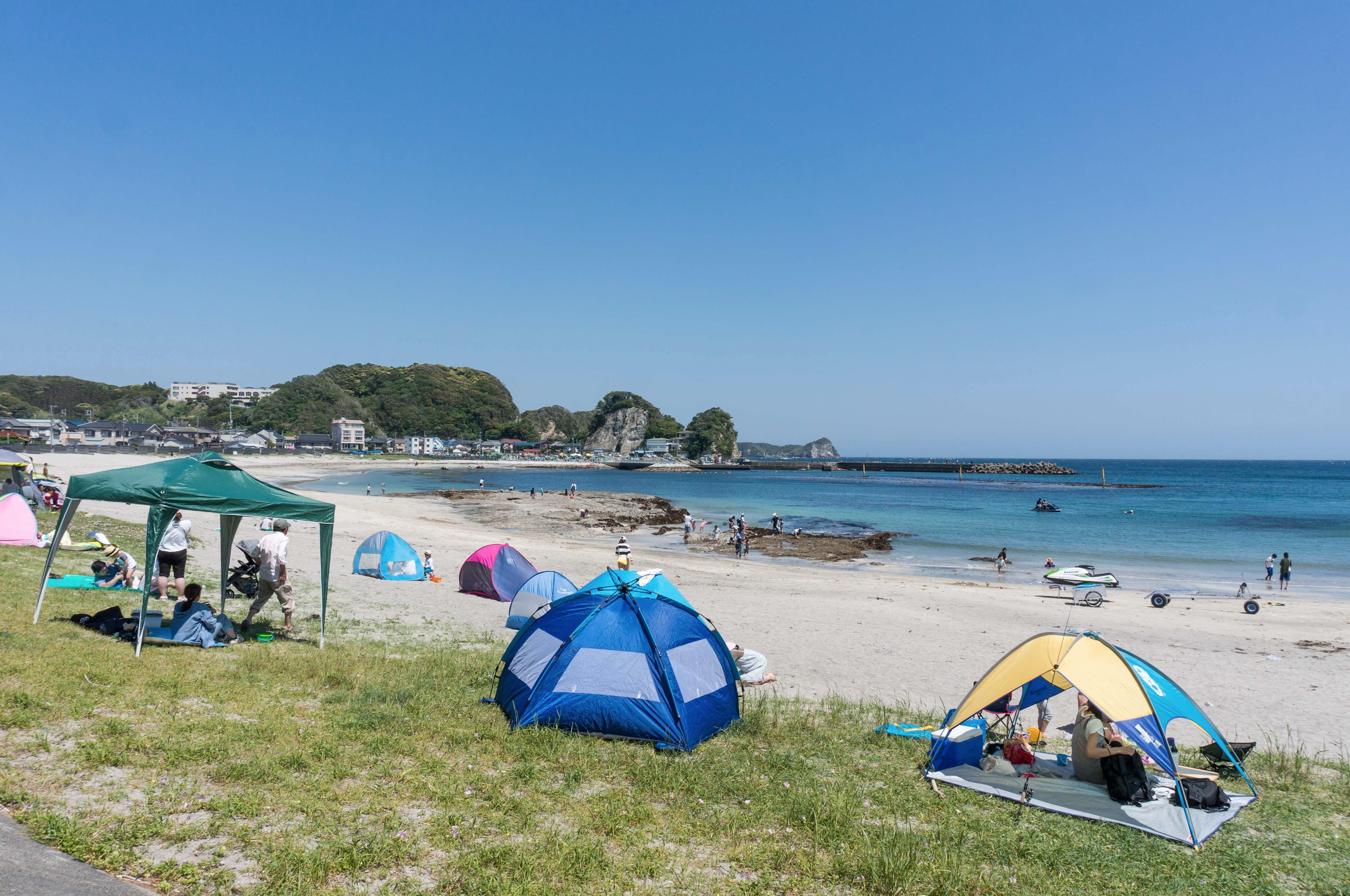 興津海水浴場と海水浴客