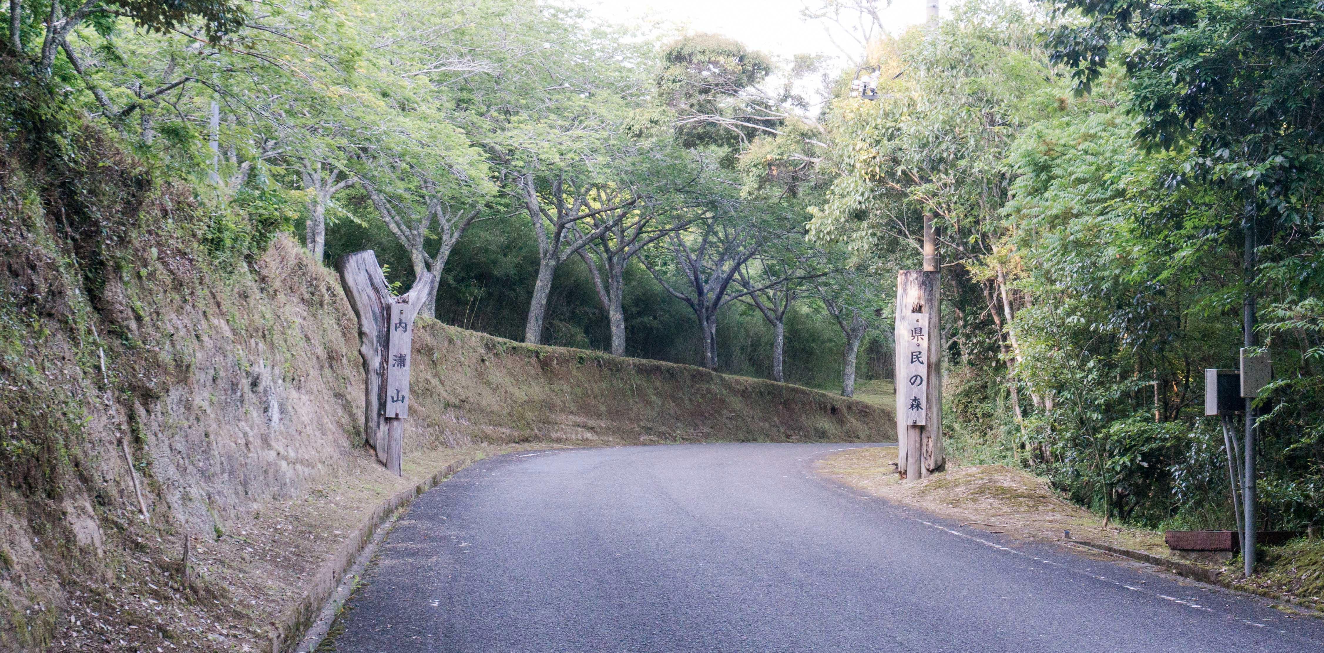 内浦山県民の森の入り口表札の写真。
