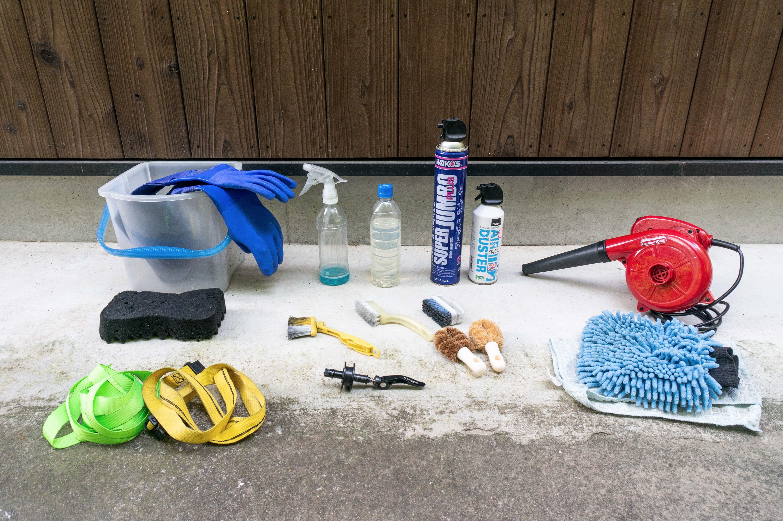 自転車を洗車する際の掃除アイテム