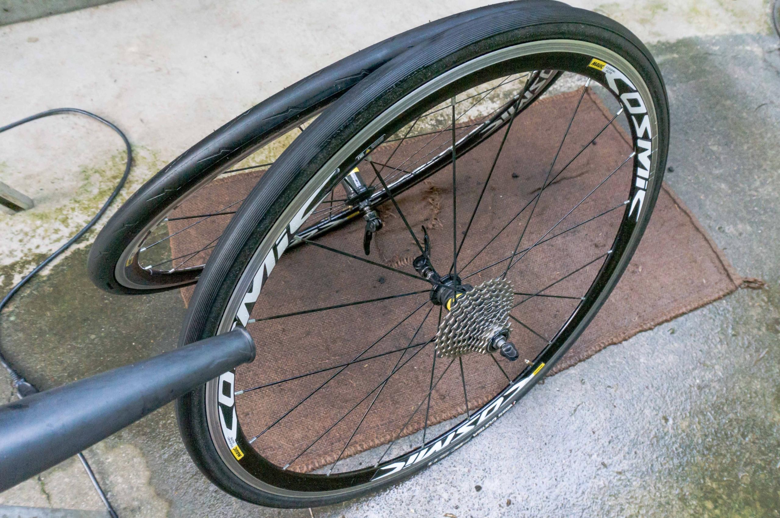 自転車のタイヤ・ホイールを掃除